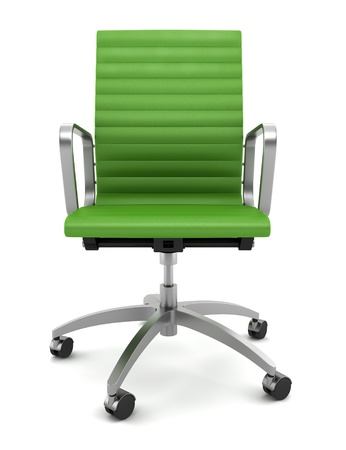 office chairs: modern green office chair isolated on white background Stock Photo