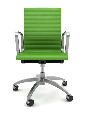 mobiliario de oficina: silla de Oficina Verde moderno aislada sobre fondo blanco