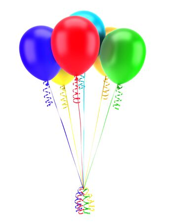 multicolored party balloons with ribbons isolated on white background photo