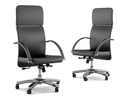 Two Modern Black Office Chairs Isolated On White Background Photo