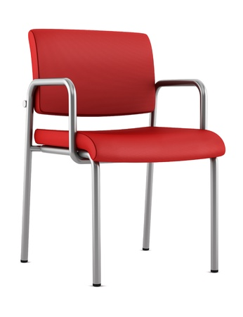 isolated chair: modern red chair isolated on white background