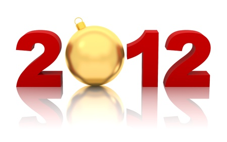 new year 2012 with golden christmas ball isolated on white photo