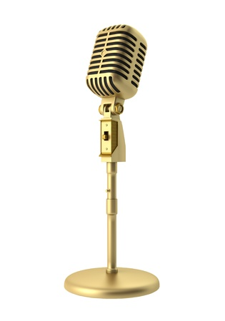 golden vintage microphone isolated on white background Imagens