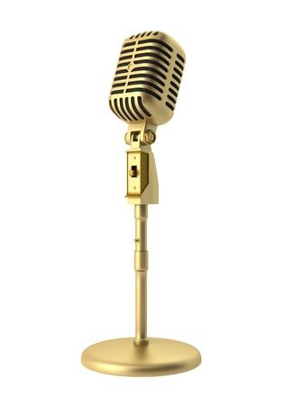 microfono de radio: Oro micrófono vintage aislada sobre fondo blanco