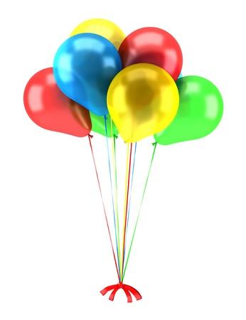anniversaire: ballons multicolores parti avec des rubans isolées sur fond blanc