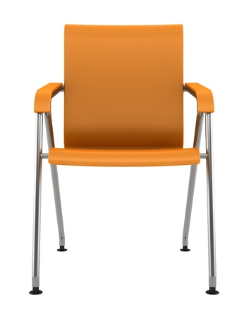 silla: silla moderna de color naranja sobre fondo blanco Foto de archivo