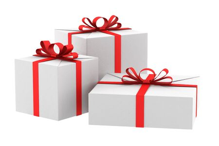 cardboard cutout: three white gift boxes with red ribbons and bows isolated on white
