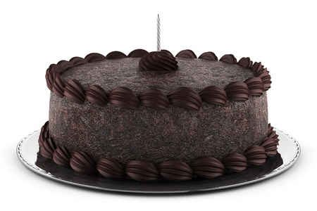 round chocolate cake with candle isolated on white background photo
