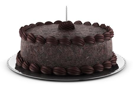 round chocolate cake with candle isolated on white background photo