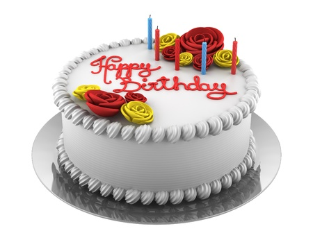 birthday food: round birthday cake with candles isolated on white background