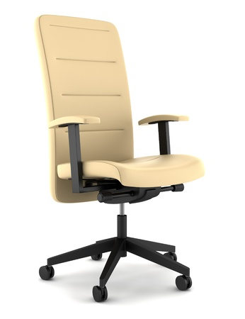 modern beige leather office chair isolated on white background photo