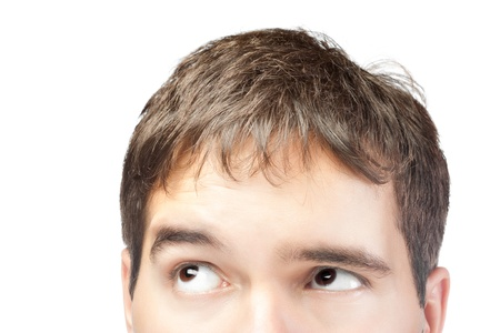 man head: attractive young man looking up isolated on white background Stock Photo