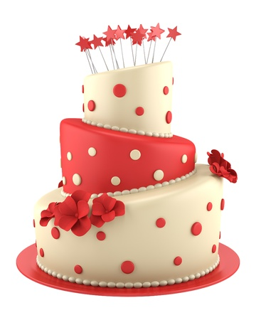 케이크: 흰색 배경에 고립 된 큰 둥근 붉은 색과 노란색 케이크