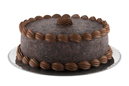 round chocolate cake isolated on white background photo