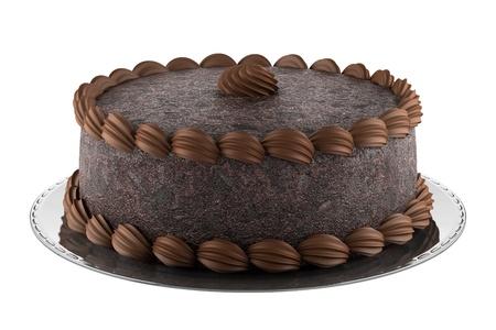 pastel de chocolate: torta de chocolate ronda aislado en fondo blanco