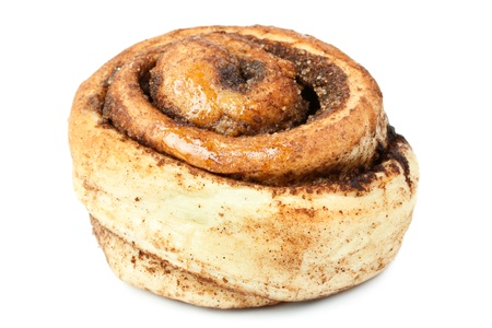 sweet bun with cinnamon isolated on white background Stock Photo