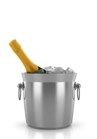 botella de champán en un cubo de hielo aislados sobre fondo blanco