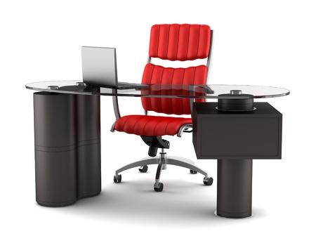 mobiliario de oficina: el lugar de trabajo de oficinas moderno aisladas sobre fondo blanco Foto de archivo