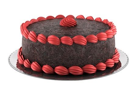 pastel de chocolate: ronda de pastel de chocolate con rosado crema aislada sobre fondo blanco