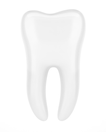 3d human tooth isolated on white background photo