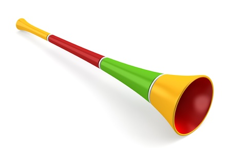 whistles: multicolored party horn isolated on white background