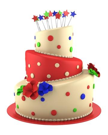 pastel de cumplea�os: gran pastel redondo de color rojo y amarillo sobre fondo blanco Foto de archivo