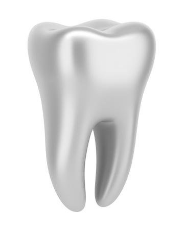 dent: 3d silver human tooth isolated on white background