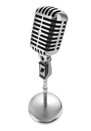 microphone stand: vintage microphone isolated on white background Stock Photo