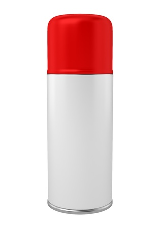 red spray can isolated on white background photo