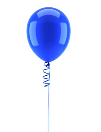 ein blauer Luftballon mit Band isoliert auf weißem Hintergrund