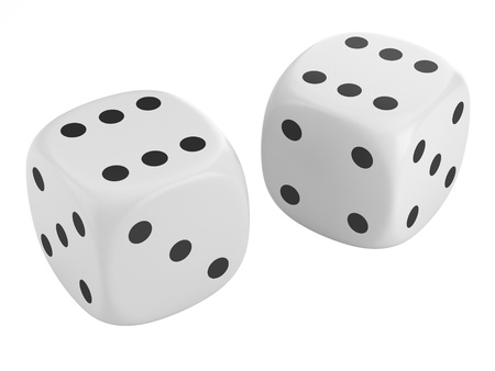gambling game: two dice isolated on white background