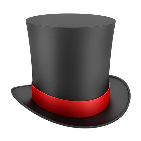 tophat: cappello a cilindro nero con striscia rossa isolato su sfondo bianco