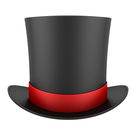 black top hat with red strip isolated on white background photo