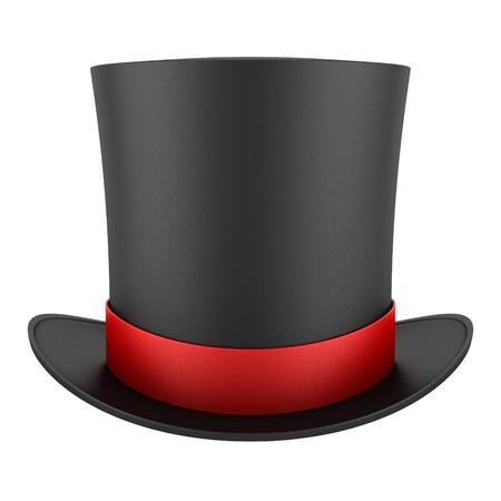 sombrero: sombrero de copa negro con franja roja sobre fondo blanco