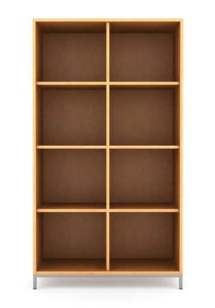 modern office wooden bookcase isolated on white background  photo