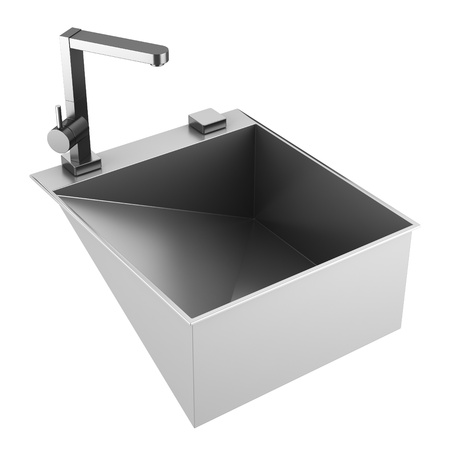 modern metal sink isolated on white background Stock Photo - 11708881