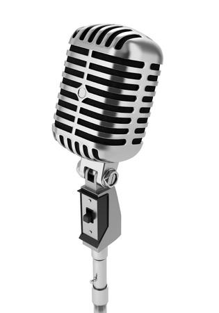 microfono antiguo: micrófono de la vendimia aislado en fondo negro Foto de archivo