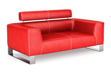 red couch: modern red leather couch isolated on white background