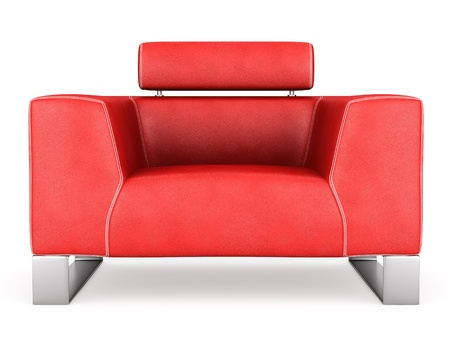 Modern Red Leather Armchair Isolated On White Background Stock Photo    11708890
