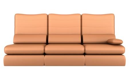 Moderne Bruin Leren Bank.Moderne Bruin Lederen Bank Gea Soleerd Op Een Witte Achtergrond
