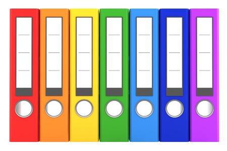 rainbow color file folders isolated on white background photo