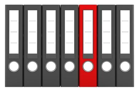 red file folder among similar gray folders isolated on white background Stock Photo - 12002433