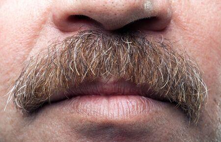 boca cerrada: bigotes close-up y la boca cerrada del hombre cauc�sico maduro Foto de archivo