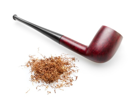 wooden smoking pipe with tobacco isolated on white background photo