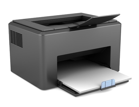 computer printer: modern black laser printed isolated on white background