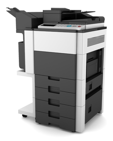 office printer: modern office multifunction printer isolated on white background Stock Photo