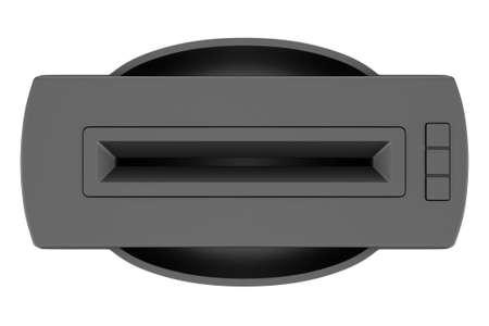 paper shredder: top view of black office shredder isolated on white background