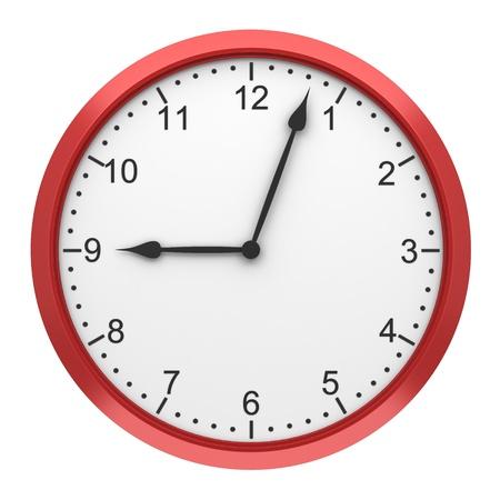 reloj pared: reloj de pared redondo rojo aislado sobre fondo blanco