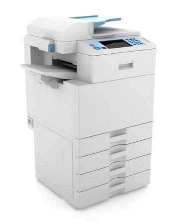 copier: moderne kantoor multifunctionele printer op een witte achtergrond Stockfoto