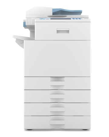 photocopy: modern office multifunction printer isolated on white background Stock Photo
